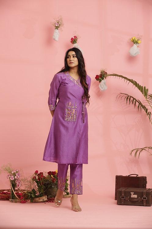 Lavender front tie dress