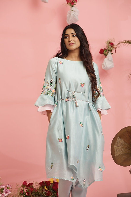 Embroidered pastel blue dress