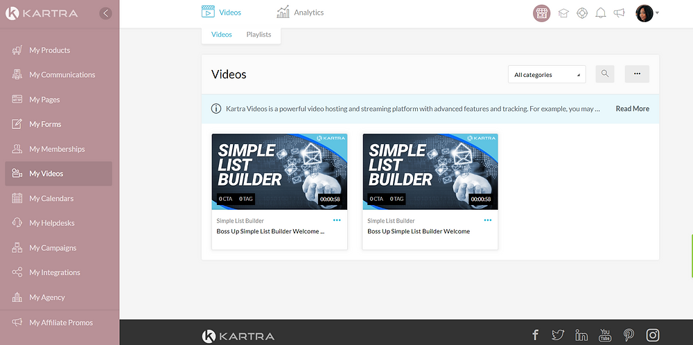 Kartra My Videos Tutorial Page