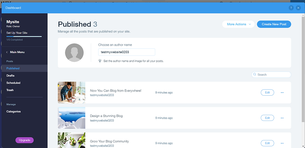 Wix Blog Manage Posts Page