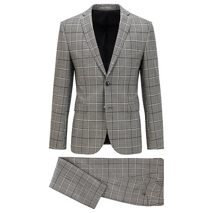 BOSS Checked Stretch Wool Suit