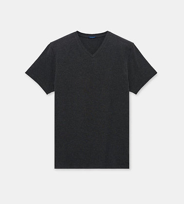 PATRICK ASSARAF Stretch V-Neck T-Shirt - Charcoal