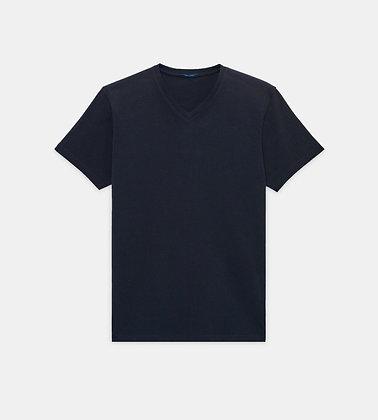 PATRICK ASSARAF Stretch V-Neck T-Shirt - Midnight Navy