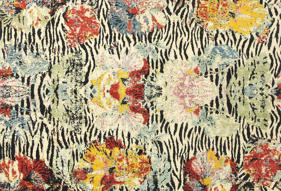 Super fine Gabbehs Flora & Fauna - Zebras amidst Blooms