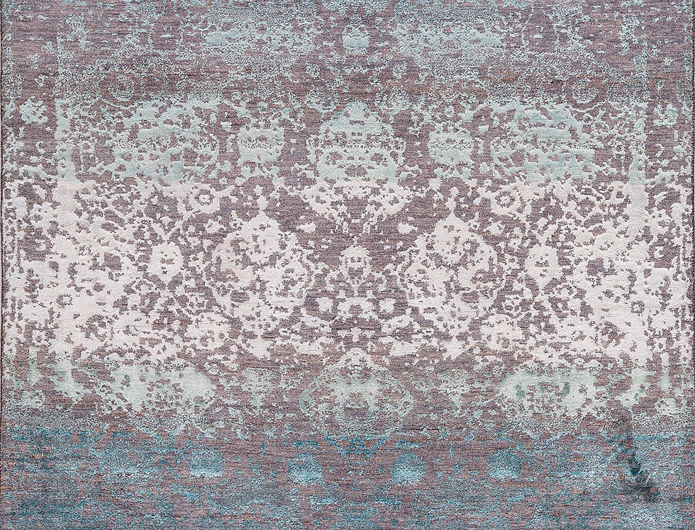 Designer - Abrashed Floral Cartouches in Blues