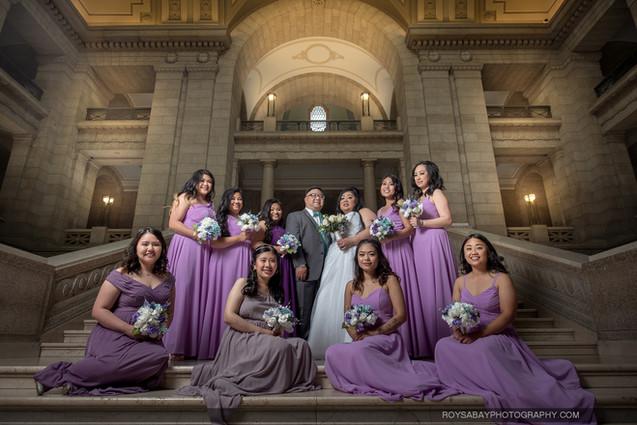 Aj + Rox with Bridesmaids