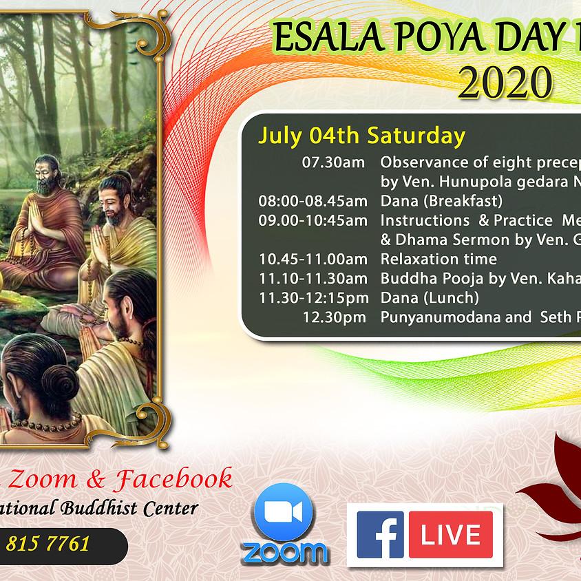"""""""ESALA"""" Full Moon Day Sil Program-2020"""
