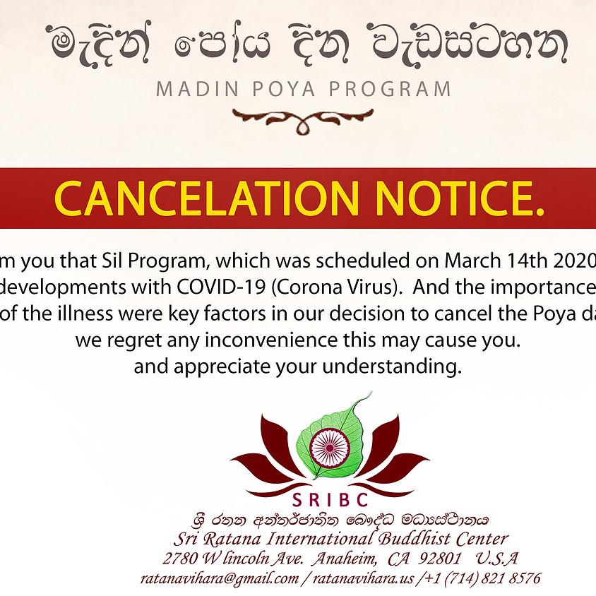 Cancellation Notice of Madin Poya Program