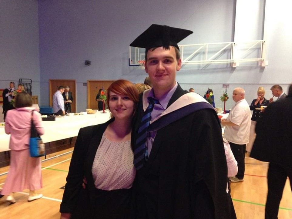 Tom and Amber at graduation, before psychosis made its self known.