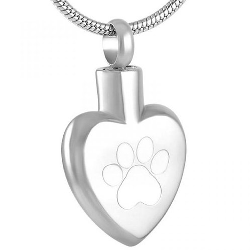 J-272 Stainless Steel Cremation Urn Pendant w/Chain – Heart – Single White Pa