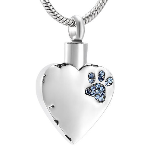 J-425-BP – Stainless Steel Cremation Urn Pendant w/Chain – Heart – Pink