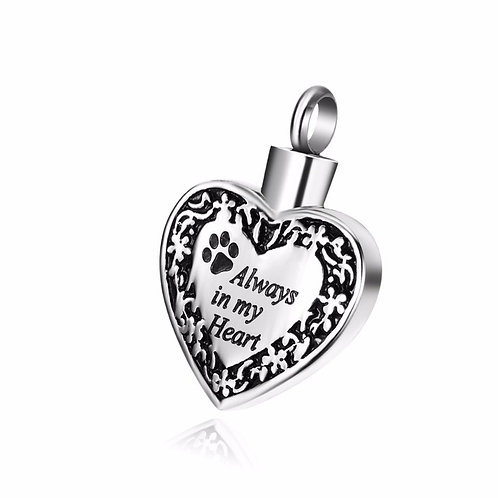 PFPC J-084-S – Stainless Steel Cremation Urn Pendant w/Chain – Paw Print