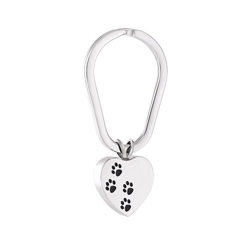 PPVH J-004 Stainless Steel Cremation Urn Key Chain – Heart – Paw Prints
