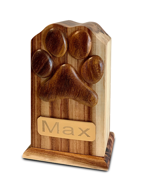 Oak, Black Walnut and Beech Woods Pet Urn with Single Paw – V-TALL PP