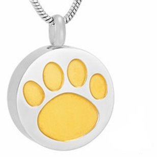 J-738 Stainless Steel Cremation Urn Pendant w/Chain – Circle w/Golden Paw