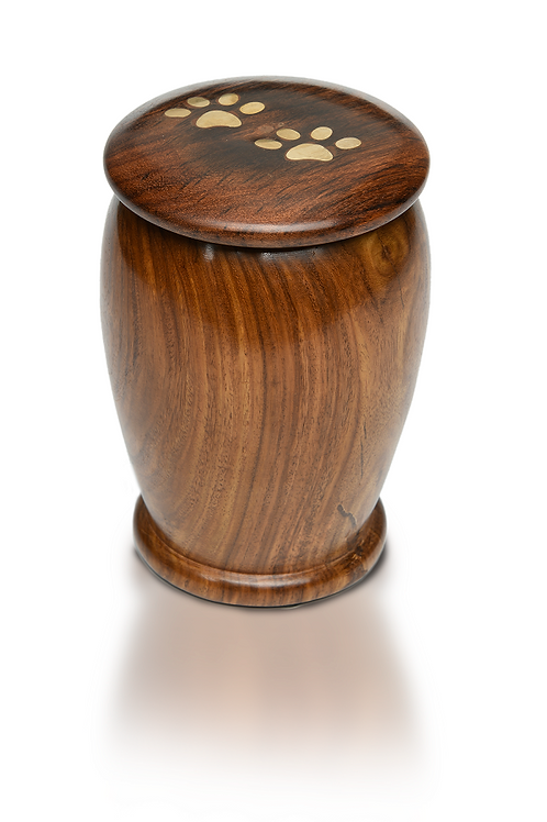 PPVH Rosewood Vase Urn with Brass Paw Prints – RW-Vase-Paw-Med