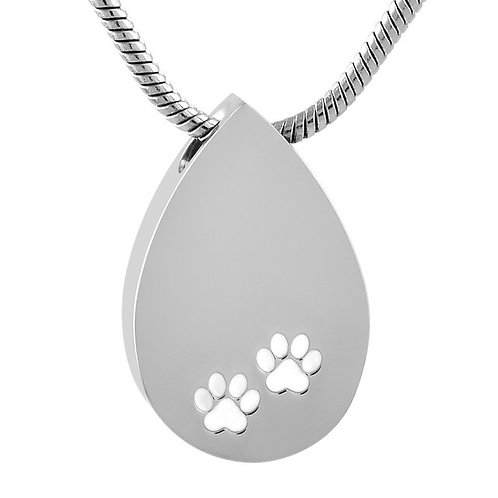 J-1502 – Stainless Steel Cremation Urn Pendant w/Chain – Tear Drop w/Paw