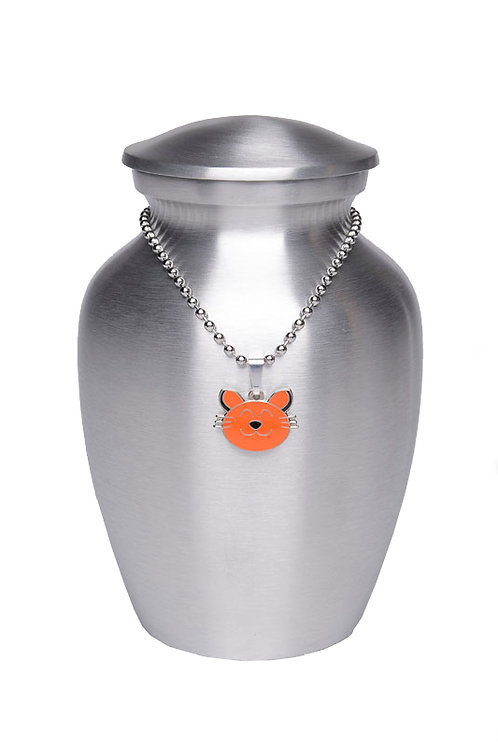Alloy Cremation Urn Silver Color – Small - w/Orange Kitty-Shaped Meda