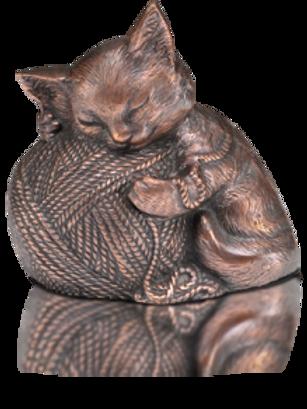 Sleeping Kitty Urn with Yarn Ball in Copper – A-1462-C