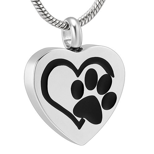 PFPC J-544 – Stainless Steel Cremation Urn Pendant w/Chain – Heart w/Paw Prin