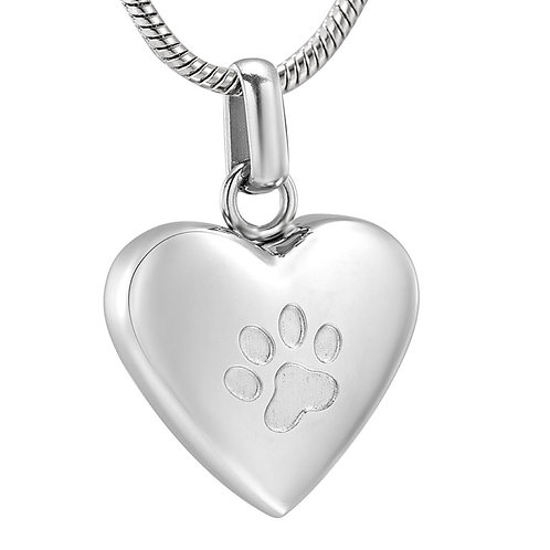 J-455 Stainless Steel Cremation Urn Pendant w/Chain – Heart w/Single Paw Paw