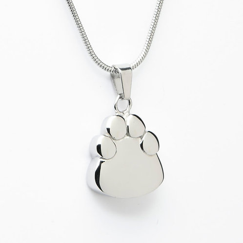 J-2203 – Stainless Steel Cremation Urn Pendant with Chain – Paw Print