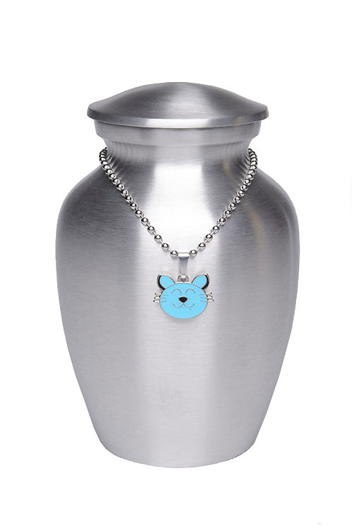Alloy Cremation Urn Silver Color – Small - w/Baby Blue Kitty-Shaped Medallio