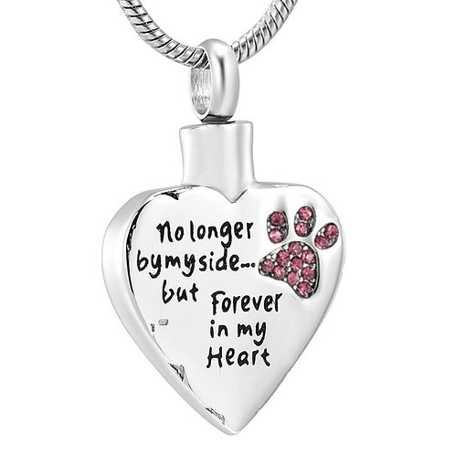 J-325-PP – Stainless Steel Cremation Urn Pendant w/Chain – Heart – Pink Paw