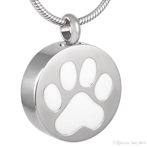 J-880-WHITE – Stainless Steel Cremation Urn Pendant w/Chain – Circle w/Paw