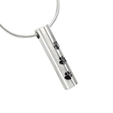PFPC J-473 Stainless Steel Cremation Urn Pendant w/Chain – Cylinder w/Three P