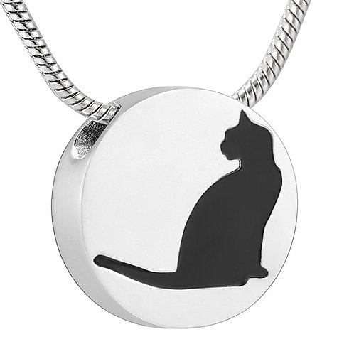 PFPC J-735 Stainless Steel Cremation Urn Pendant w/Chain – Cat Silhouette