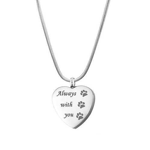 J-625 Stainless Steel Cremation Urn Pendant w/Chain – Heart – Paw Prints