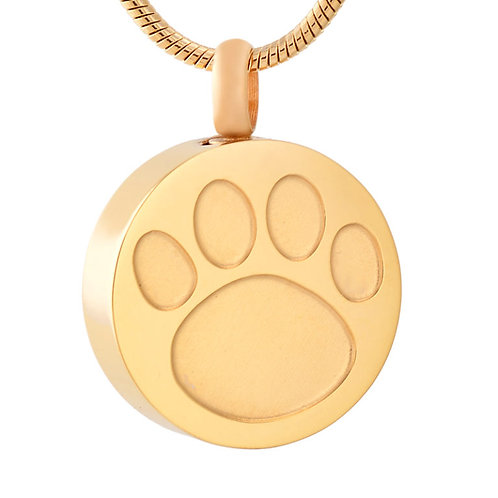 J-738-GOLD TONE – Stainless Steel Cremation Urn Pendant w/Chain – Circle w/Paw