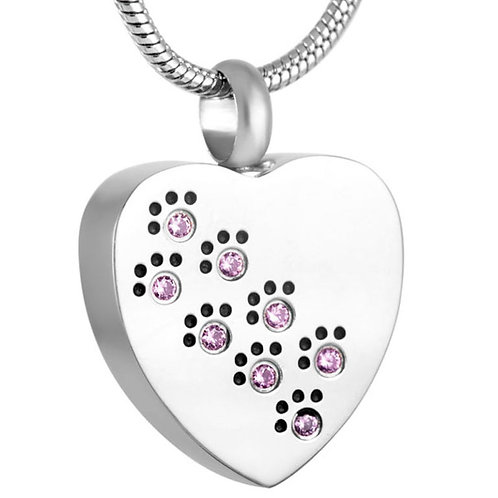 J-623-Pink – Stainless Steel Cremation Urn Pendant with Chain – Heart – Pink Paw