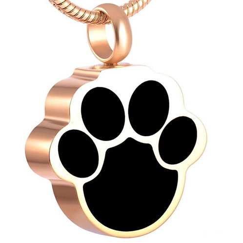 J-620 Stainless Steel Cremation Urn Pendant w/Chain – Paw Print in Black & Gold