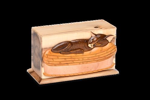 PFPC Oak, Black Walnut and Beech Woods Pet Urn w/Sleeping Kitty – V-SLP-CAT
