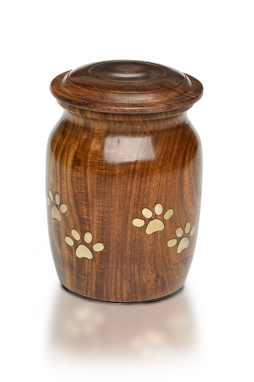 "Rosewood ""Paw Barrel"" Urn with Brass Inlay – RW-Paw-Barrel – Large"
