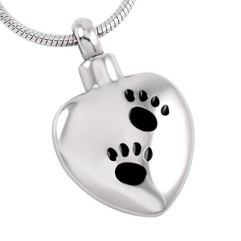 J-369 Stainless Steel Cremation Urn Pendant with Chain – Heart – Two Paw Prints