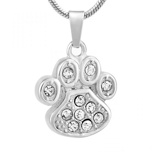 J-756 – Stainless Steel Cremation Urn Pendant w/Chain – Paw Print w/Clear Stones
