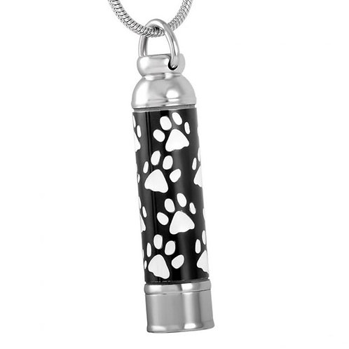 J-076-W Stainless Steel Cremation Urn Pendant w/Chain – Cylinder w/White Paw