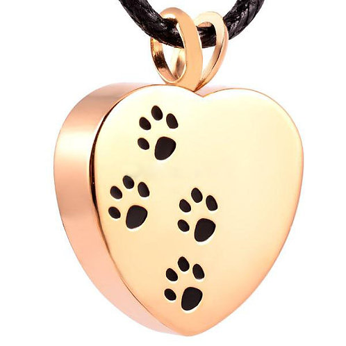 J-004-GOLD TONE – Stainless Steel Cremation Urn Pendant w/Chain – Heart – Paws