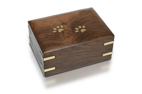 PFPC Wooden Pet Urn w/Brass Paws - Brass Corners 85 cu. in. – RW-PP-MED