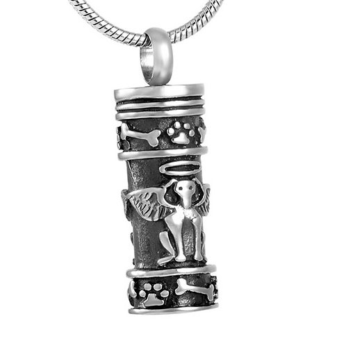 J-628 Stainless Steel Cremation Urn Pendant w/Chain – Guardian Dog Angel