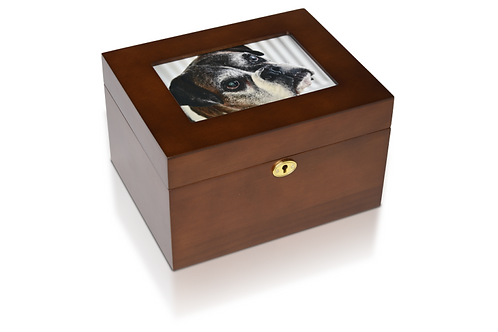 5″ x 7″ Wooden Photo Memory Urn Box with Walnut Stain