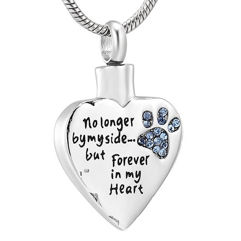 J-325-BP – Stainless Steel Cremation Urn Pendant w/Chain – Heart – Blue Paw