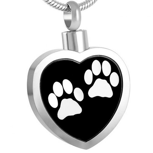 J-027-W Stainless Steel Cremation Urn Pendant with Chain – Heart – Two White Paw