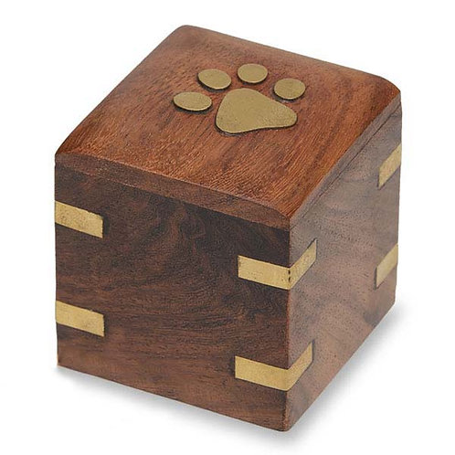 PPVH Wood Pet Keepsake Urn Brass Paw and Brass Corners 1.5 cu. in. – NM-5075-