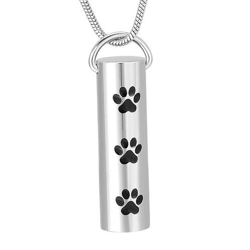PPVH J-719 Stainless Steel Cremation Urn Pendant w/Chain – Cylinder w/Three P