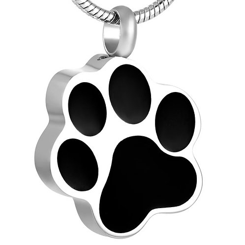 J-1290 Stainless Steel Cremation Urn Pendant w/ Chain – Black Paw Print