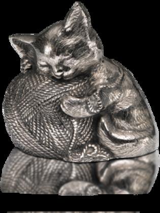 Sleeping Kitty Urn with Yarn Ball – Silver – A-1461-S